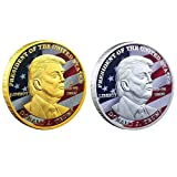 2 Pcs 2020 Trump Coins Challenge Coin Keep America Great Coin Eagle Shield Commemorative Coin Re-Election Gift (A(Gold+Silver))