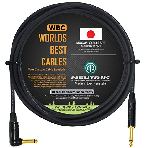 10 Foot - Guitar Bass Instrument Cable Custom Made by WORLDS BEST CABLES – Using Mogami 2524 Wire and Neutrik NP2RX-B & NP2X-B ¼ Inch (6.35mm) Gold TS Connectors