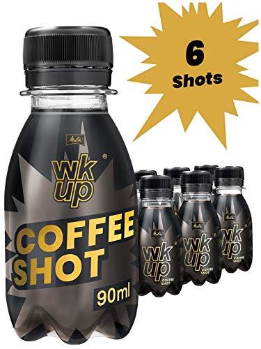 MELITTA 6 Flaschen WKUP Coffee Shot je 90ml | Energy Drink aus 100% natürlichem Koffein hochdosiert | Power Coffee Shots 6x 90 ml with Pure Natural Coffein | Kaffee Energie Booster