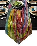 Camino de Mesa Rainbow Whirlpool Pintura sobre Tablero Antiguo de Madera Foto artística Camino de Mesa Camino de Mesa Camino de Mesa Estilo de casa de Campo,Decoración de Mesa de Comedor