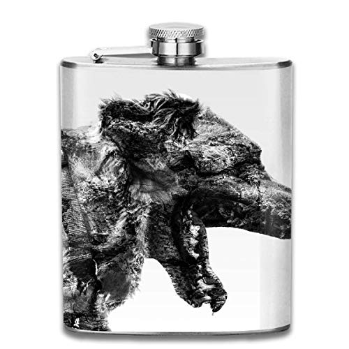 Presock Fiaschette Dog Rock Art Mouth Outdoor Portable 304 Stainless Steel Leak-Proof Alcohol Whiskey Liquor Wine 7OZ Pot Hip Flask Travel Camping Flagon for Man Woman Flask Great Little Gift