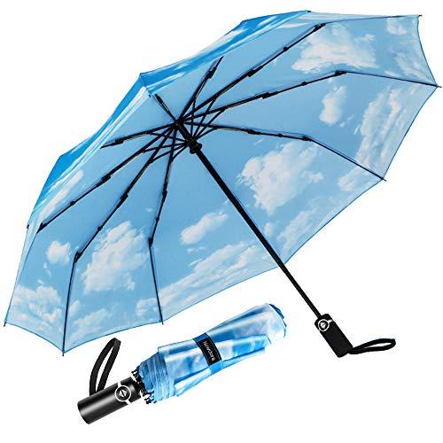 Newdora Regenschirm Taschenschirm Windproof sturmfest Auf-Zu Automatik 210T Nylon Umbrella wasserabweisend klein leicht kompakt 10 Ribs Reise Golfschirm mit Trockenbeutel(Hellblau/Weiß)