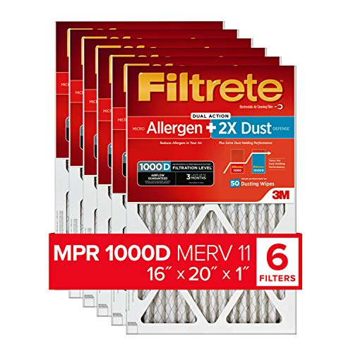 Filtrete 16x20x1, AC Furnace Air Filter, MPR 1000D, Micro Allergen PLUS DUST, 6-Pack (exact dimensions 15.69 x 19.69 x 0.81)