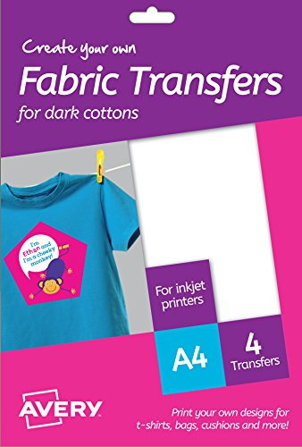 Avery MD1003 Printable Fabric Transfers For Dark Cottons, 1 transfer Per A4...