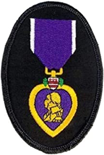 Purple Heart Ribbon Veteran Oval Embroidered Military Patch Iron Sew PWPM5012