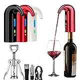 Aireador eléctrico de vino, dispensador automático de vino, filtro de aireación vertedor y decantador caño accesorios para el entusiasta del vino, con abrebotellas, tapón al vacío, cortador (Red)