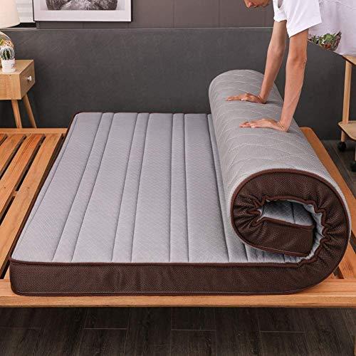SAZDFY Colchón de Confort, colchón de Cama de Tatami hipoalergénico Reversible colchón Acolchado Saludable colchón de Piso Enrollable Grueso 10cm-Gris 150x190cm