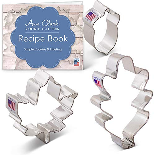 Ann Clark Cookie Cutters 3-Piece Autumn/Fall/Thanksgiving Cookie Cutter Set with Recipe Booklet, Oak Leaf, Maple Leaf and Acorn