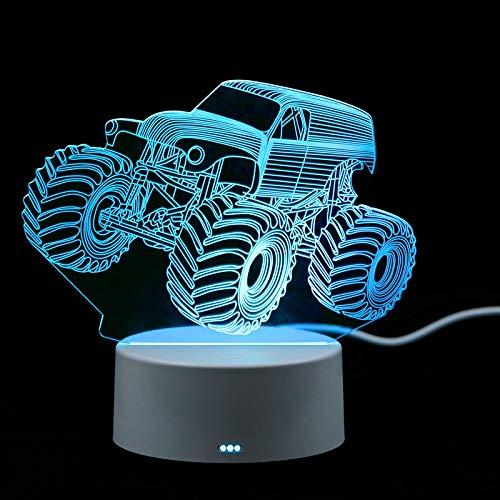 Fitlife Wagen 3D-Nachtlicht für Kinder 3D Optische Täuschungs lampe Deko Licht Weihnachtsgeburtstagsgeschenke für Jungen 3D-Licht Lampe 7 Farben Tischlampe mit USB-Stromkabel