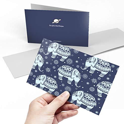 Biglietto di auguri (A5) – blu indiano tribale elefante modello vuoto biglietto di auguri di...