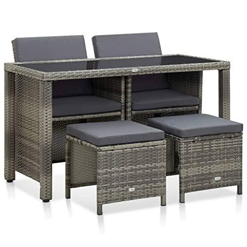 vidaXL Gartenmöbel 5-TLG. mit Auflagen Sitzgarnitur Gartengarnitur Gartenset Sitzgruppe Lounge Rattanmöbel Tisch Stuhl Poly Rattan Grau
