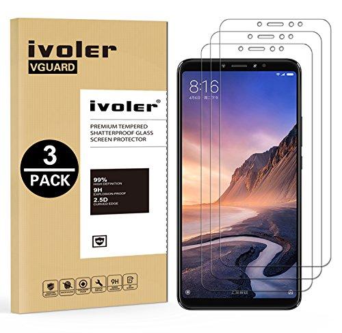 ivoler [3 Stücke] Panzerglas Schutzfolie für Xiaomi Mi Max 3, 9H Festigkeit, Anti- Kratzer, Bläschenfrei, [2.5D R&e Kante]
