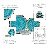 Sänger Dinner Service Capri aus Porzellan 12 teilig für 4 Personen | Füllmenge der Schalen 700 ml | Tellerset im Vintage-Stil Blau, Geschirrset, Porzellanservice - 2
