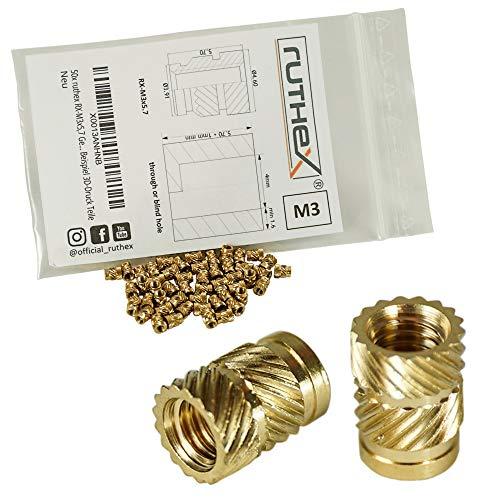ruthex Gewindeeinsatz M3 (100 Stück) - RX-M3x5,7 Messing Gewindebuchsen - Einpressmutter für Kunststoffteile - durch Wärme oder Ultraschall in 3D-Druck Teile