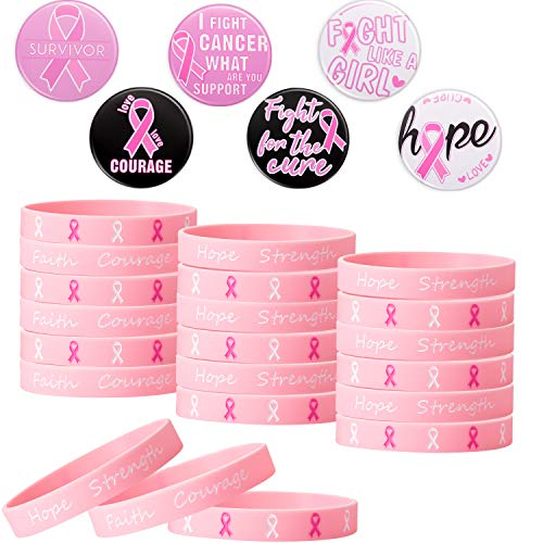 24 Pieces Breast Cancer Awareness Buttons Round Brooch 24 Pieces Pink Ribbon Bracelets Silicone Wristband