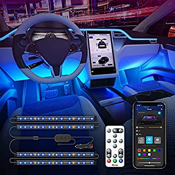 Govee Interior Car Lights with APP Control and Remote Control 16 Million Colors Music Sync Car LED Lights 7 Scene Modes 2 Lines Design RGB Under Dash Car Lighting with Car Charger DC 12V