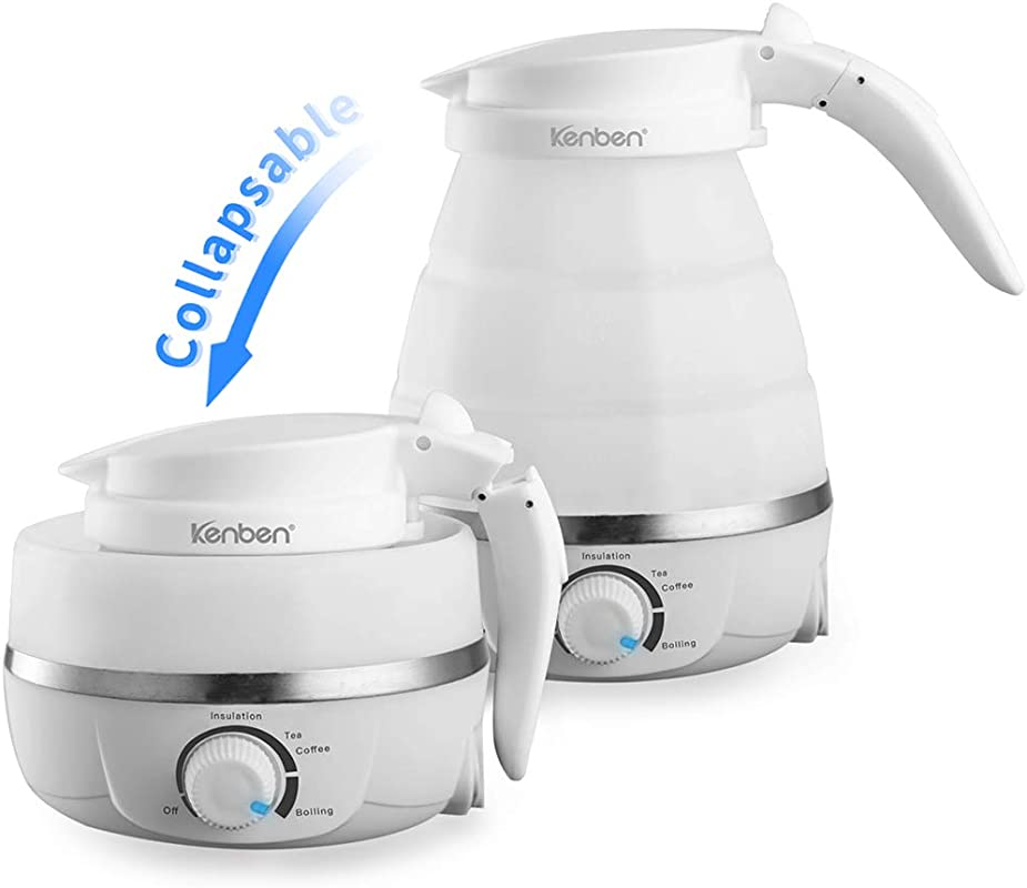 Travel Folding Electric Kettle 600ml Foldable Handle Saves Space Food Grade Silicone Dual Voltage Adjustable Anti Dry