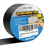Holikme Window Screen Repair Kit Door Window Fly Lanai Repair Patch Tape Strong Adhesive Long Lasting Fiberglass Covering Mesh Repair Black(2×80inch)