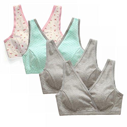 EMY Nursing Bra Maternity Bra 4 Pack Wrap Sleep Bra for Maternity to Nursing Seamless Cotton (M (Asian tag L))