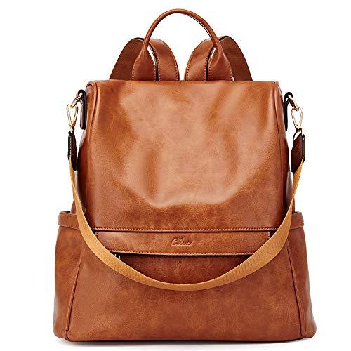 CLUCI Rucksack Damen Leder Mode Diebstahlsicherer Reiserucksack Schultertasche für Frauen 2 in 1 Braun
