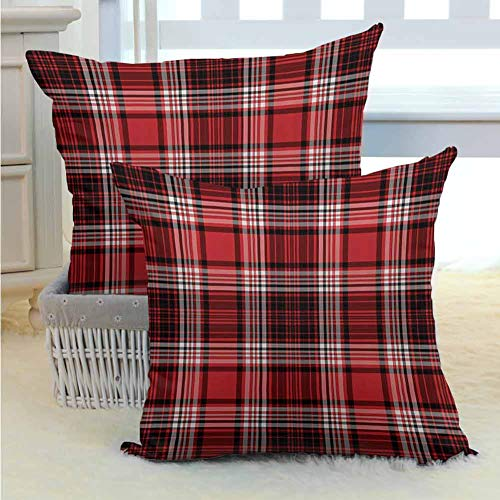 Red and Black Pillowcase Set Ancient British Skirt Cloth Print Squares Abstract Bold Lines Art Print Soft Soild Decorative for Couch/Bed/Sofa 2PCS, W18 x L18 inch White and Ruby