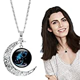 2021 Collar de 12 Constelaciones de Moda Colgante de Luna Creciente Galaxy Zodiac Astrology Horóscopo Charm Collares de Verano, Tendencias de Verano 2021 Collares Joyas (Acuario)