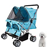 KARMAS PRODUCT Double Pet Stroller Wheels Large Strollers for Dogs Cover Blue