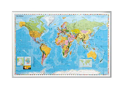 Allboards Pinnwand in Weltkartenformat Silber 90×60cm, Korktafel Korkwand Pinnwand Kork, Weltkarte