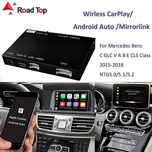 Wireless Carplay Android Auto fürMercedes Benz C GLC W205 V A B E CLS Klasse W212 X156 C117 w246 2015-2018, mit Mirror Link Autolink Airplay Funktion NTG5.0/5.1 5.2 Auto