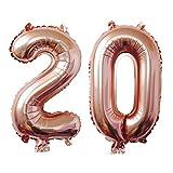 Meowoo Globo Número 20 Año Globo de Cumpleaños Foil Globo Gigante Helio Globo de Papel de Aluminio 100cm 40 Pulgada Fiesta de Aniversarios Suministros Decoración (Oro Rosa)
