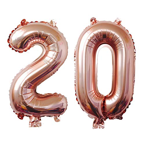 Meowoo 20 Ans Décoration Anniversaire, Fête Ballons 20 Ans Ballons Chiffre Ballons pour 20e Anniversaire de Mariage Fête d'anniversaire Décoration Hélium Ballons (20 Rose Or)