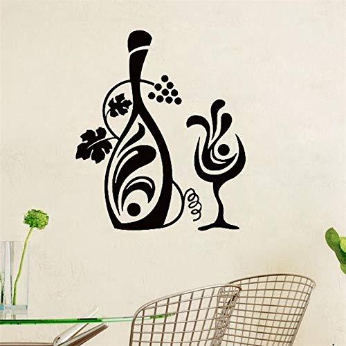 Botella de vino de vid y una etiqueta de la pared de vidrio Diseño creativo Tatuajes de pared florales Decoración de la pared de la cocina Decoración de la sala de estar otro color 29x34cm