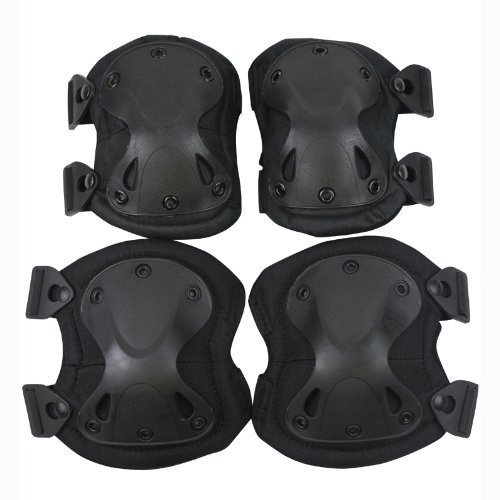 Outdoor Sports Tactical Combat Knee & Elbow Protective Pads Skate Knee (Black)