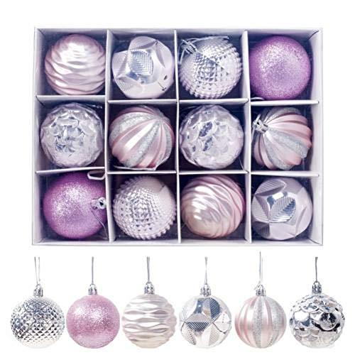 LJTJX 12 Stks Glanzende Kerstbal Met Opbergdoos Familie Feest Kerstboom Hangende Decoratie