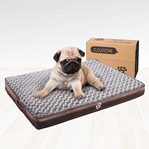 CLOUDZONE Orthopedic Dog Bed with 2-Removable Zipper Covers | Machine Washable Dog Bed Egg-Crate Foam Plush Crate Pad | Pet Bed with Durable PU Leather and Non-Slip Bottom (XL) Brown Beds