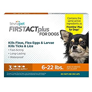 TevraPet FirstAct Plus Flea & Tick Prevention for Dogs – Topical, 6-22 lb