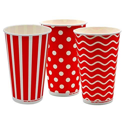 Pack&Cup Eco Einwegbecher Pappbecher für Kaltgetränke Lollipop 400 ml (16 OZ) 50 Stück
