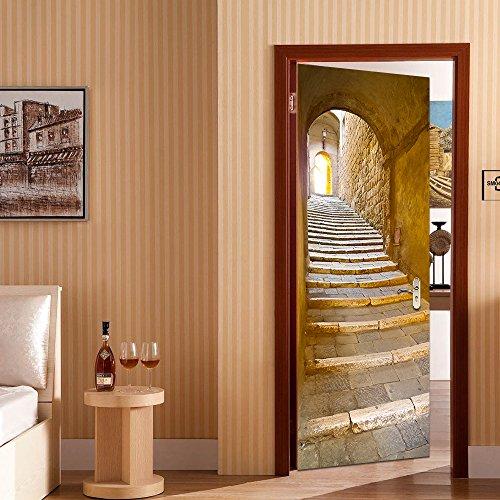 rocwart 3d puerta Mural de vinilo para sala de estar niños bebé Niños extraíble vinilo piedra paso papel pintado Arte Decoración del hogar 30,3x 78.7