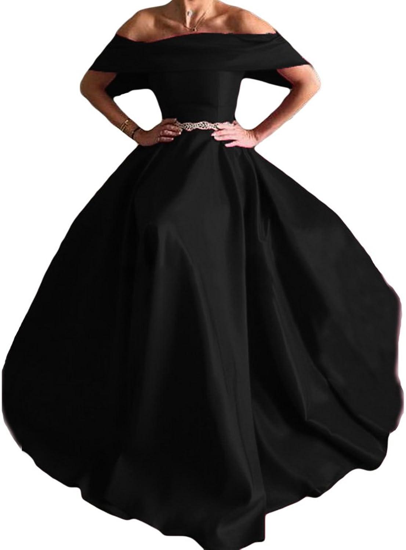 Liyuke Women's Aline Prom Dresses Long Off Shoulder Evening Gowns with Belt