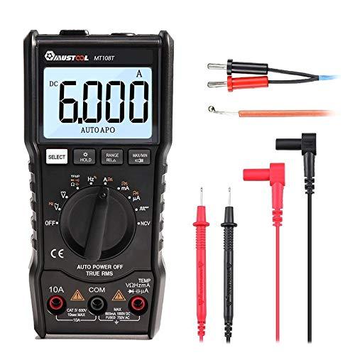 MUSTOOL MT108T Square Wave Output True RMS NCV Temperature Tester Digital Multimeter 6000 Counts Backlight