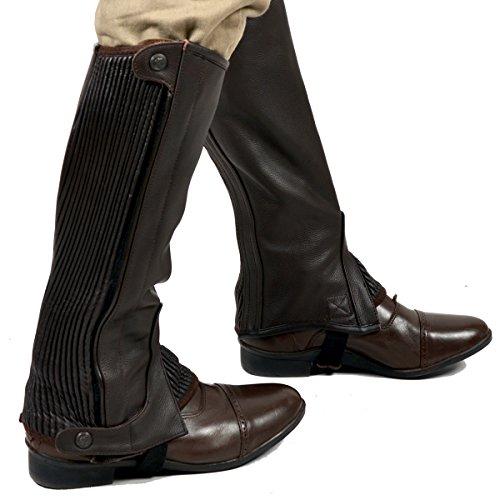 Riders Trend Full Grain Leather - Polainas/chaparreras de hípica, Color Chocolate, Talla M/15 Inch