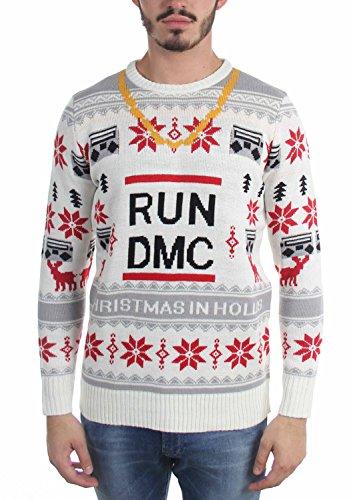 Run Dmc - Mens Run Dmc Chain Ugly Sweater, Size: Medium, Color: tan