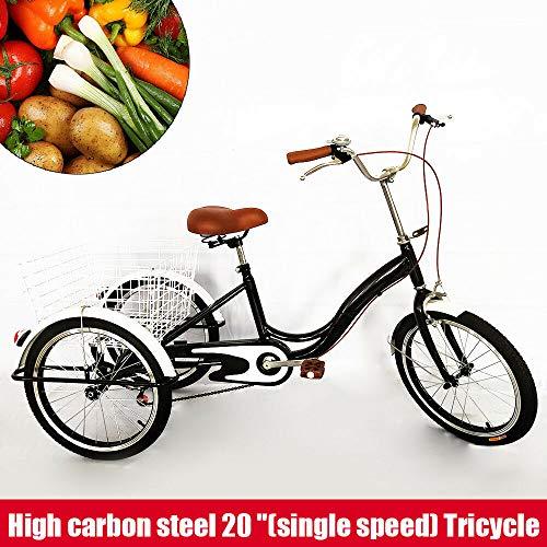 SENDERPICK 20 pulgadas de 3 ruedas para adultos, triciclo de una sola velocidad, bicicleta para adultos, bicicleta con pedal con cesta blanca para deportes al aire libre de compras