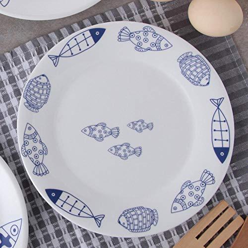 LXLN Vajilla de cerámica Blanca Marfil,Plato Occidental, Plato de cerámica para el hogar, Plato de fruta-12 Peces_20.5cm,Plato Redondo de cerámica para el hogar
