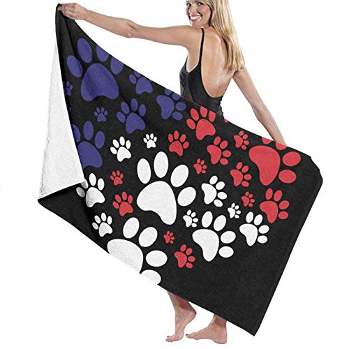 Bath Towels Paws Print Hearts Beach Towel Gym Decor Summer Sunbathing for Kids Super Absorbent Long Quick Dry Washing Towels 80x130 cm Towels