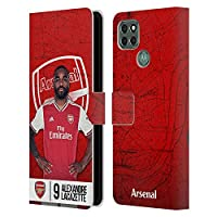 Head Case Designs オフィシャル ライセンス商品 Arsenal FC Alexandre Lacazette 2019/20 ファースト・チーム グループ1 Motorola Moto G9 Power 専用レザーブックウォレット カバーケース