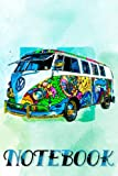 Hippie Bus. Notebook Design Retro. Ruled Notebook. Journal Classic Writing Notebook, Paperback (6 x 9). Use for Office, Home, School, or Business. 100 pages. Matte cover