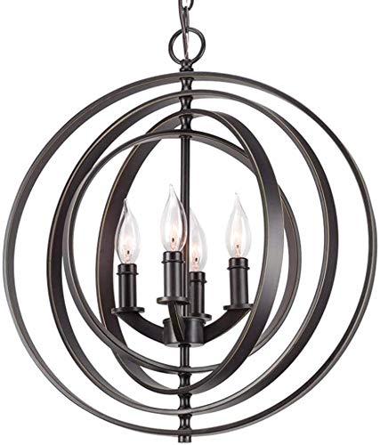 SKSNB Lámpara de araña led Industrial Retro, lámpara de araña de Hierro Forjado esférico para el hogar Creativo, iluminación de Sala de Estar, Negro