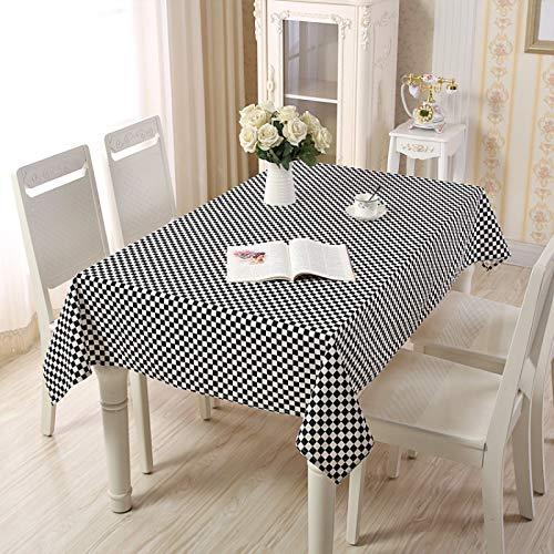 NTtie Adecuado para Cocinas Exteriores O Interiores Mantel Mesa Geometría de celosía Pastoral Simple de algodón y Lino.