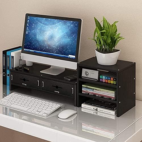DAGCOT Ordenador portátil tabla de madera Monitor de Soporte de escritorio del organizador del almacenaje del ordenador portátil de TV Monitor de la canalización vertical de madera Color 2 Niveles + c